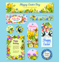 Easter egg floral tag and greeting poster set vector