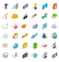Feature icons set isometric style vector