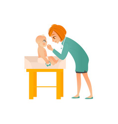 Female pediatrician doctor examines baby on vector