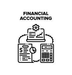 Financial accounting work black vector
