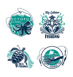 Fishing sport club or trip icons set vector