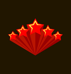 five stars raiting burst five red stars vector image