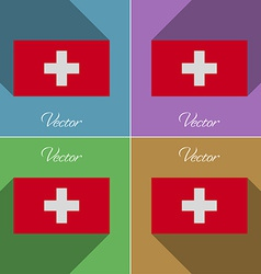Flags Switzerland Set of colors flat design and vector image