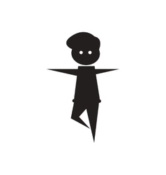 Flat icon in black and white male dancer vector