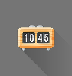 Flat style wood retro flip clock icon vector