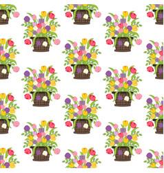 flowers in basket seamless pattern vector image