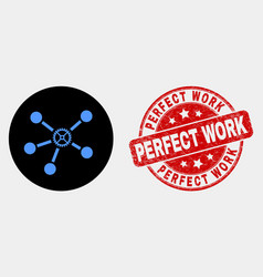gear links icon and grunge perfect work vector image