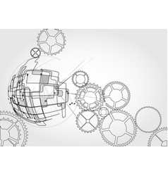 gears and sphere vector image