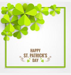 green shamrock frame for st patrick day card vector image