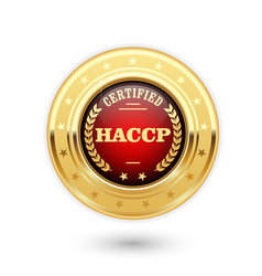 Haccp certified medal - hazard analysis and vector