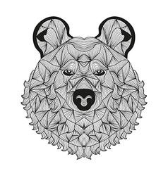 Hand drawn decorative bear vector