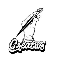 Hand drawn of woman holding artistic brush vector