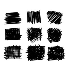 hand drawn textures and brushes vector image