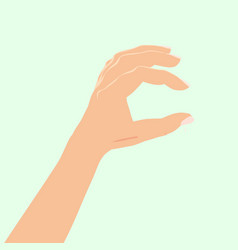 hand hold okay hand sign blue background vector image