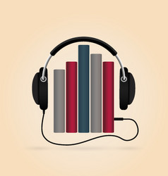 headphones with books audio-book concept modern vector image