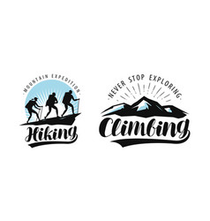 hiking climbing logo or label camping trip vector image