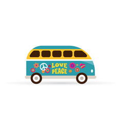 Hippie bohemian blue van - love and peace vector