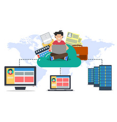 Hosting online cloud with user and computers vector