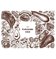 ketogenic diet set hand drawn organic food vector image