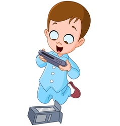 Kid with christmas gift vector