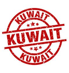Kuwait red round grunge stamp vector