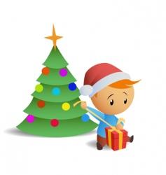 little boy open gift box vector image vector image