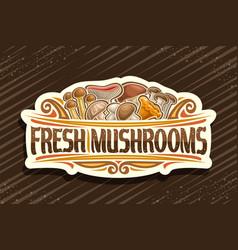 Logo for fresh mushrooms vector