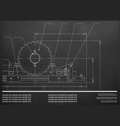 Mechanical drawings on a black and white vector