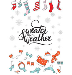merry christmas congratulation card with socks vector image