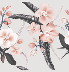 nature orchids and leaves seamless background vector image