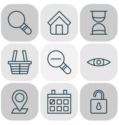 network icons set with trading basket magnifier vector image