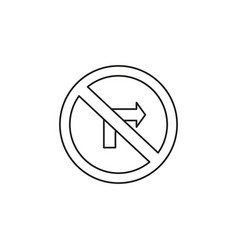 no turn right road icon vector image