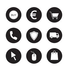 Online store black icons set vector