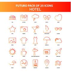 Orange futuro 25 hotel icon set vector
