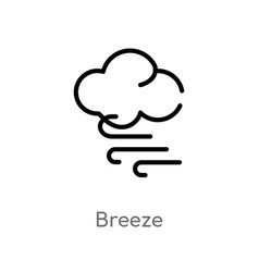 Outline breeze icon isolated black simple line vector