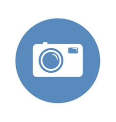 Photo camera sign in blue circle vector
