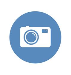 photo camera sign in blue circle vector image