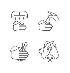Proper handwashing linear icons set vector