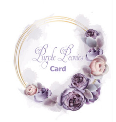 purple peony flowers wreath card watercolor vector image