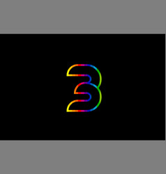 rainbow color colored colorful number 3 logo icon vector image