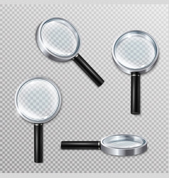 realistic magnifying glasses set vector image