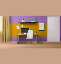 room interior workplace with desk seat and pc vector image