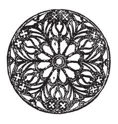 Rose window circular window vintage engraving vector