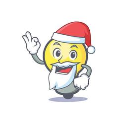 Santa light bulb character cartoon vector
