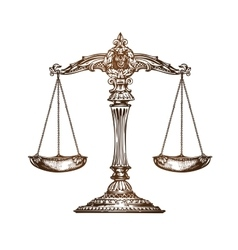Scales of justice Vintage sketch vector
