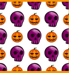 seamless pattern with halloween pumpkin and skull vector image