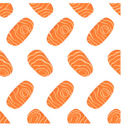 seamless pattern with salmon pieces vector image