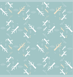 Seamless pattern with white nature elements vector