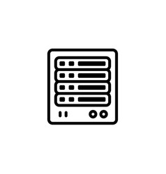 Server line icon in flat style for apps ui vector