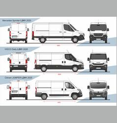 Set cargo delivery vans l2h1 2020 vector